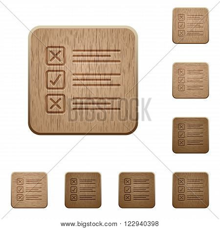 Set of carved wooden questionnaire buttons in 8 variations.