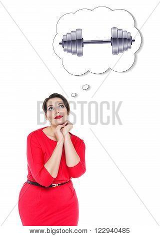 Beautiful Plus Size Woman Thinking About Sport