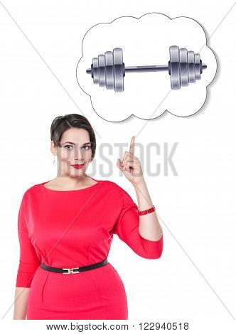 Plus Size Woman Showing On Banner With Dumbbell Isolated