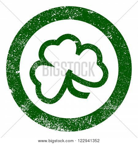The lucky Irish Shamrock as a rubber ink stamp impression
