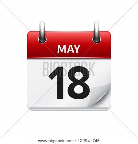 May 18 . Vector flat daily calendar icon. Date and time, day, month. Holiday.