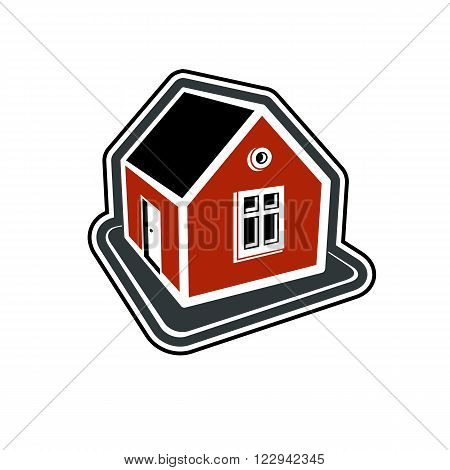 Simple village mansion icon vector abstract house. Country house conceptual sign best for use in graphic and web design.