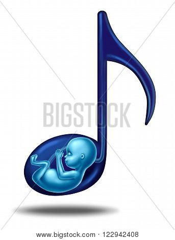Pregnancy music and prenatal hearing songs concept for a fetus that is in the womb of an epecting mother as a maternity health concept as a developing fetus inside a musical note.