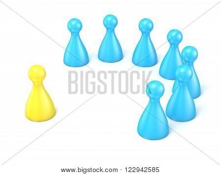 Interview with staff. Scene made of toy pawns. 3D render illustration isolated on white background
