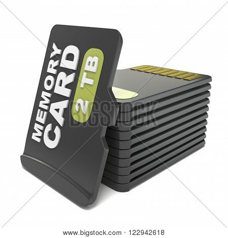 Memory micro sd card stack. 3D render illustration isolated on white background