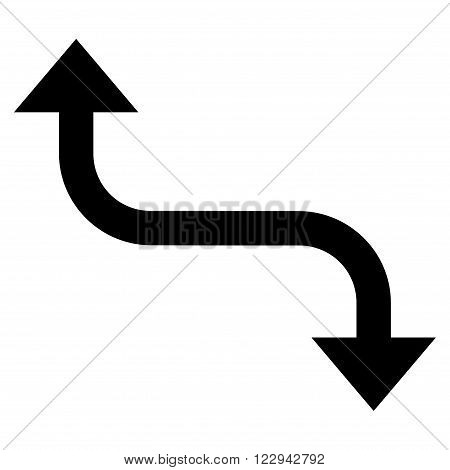 Opposite Bend Arrow vector icon. Style is flat icon symbol, black color, white background.