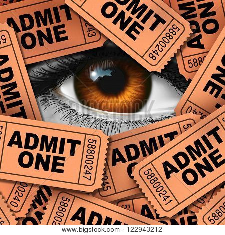 Concept of entertainment and cinema watching symbol as a group of movie admission coupons and theater entrance ticket icon with a human eye looking through as a metaphor for film critic.