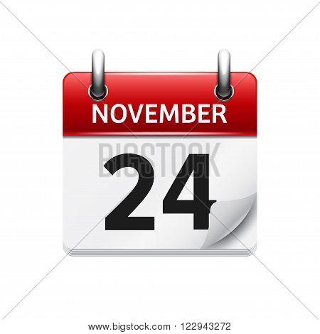 November  24. Vector flat daily calendar icon. Date and time, day, month. Holiday.
