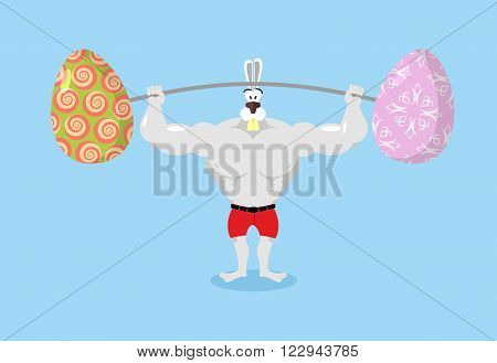Strong Rabbit Holding Barbell And Easter Eggs. Sports For Hare. Traditional Easter Egg. Happy Easter