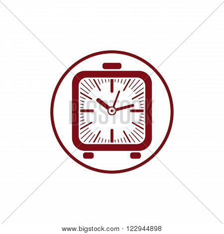 Time conceptual stylish icon simple desk clock. Can be used in advertising and as web element.