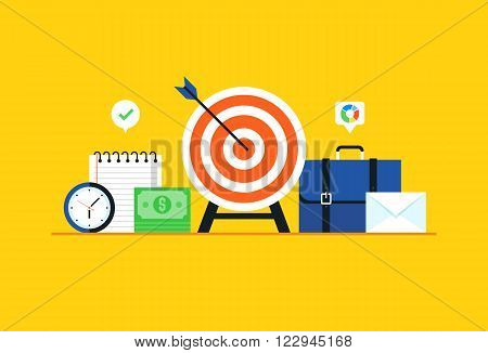 Business target, Strategy, Goal. Flat design modern vector illustration concept.