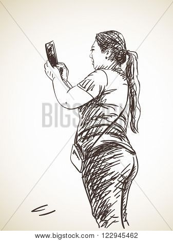 Sketch of woman taking photo with smart phone, Hand drawn illustration