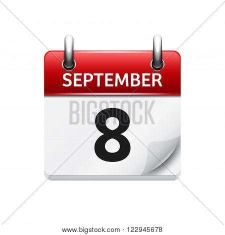 September  8. Vector flat daily calendar icon. Date and time, day, month. Holiday.
