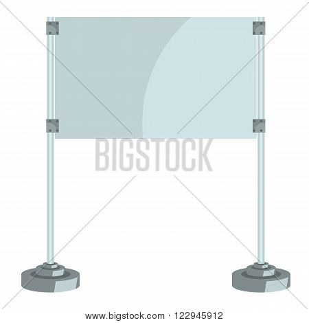 Illustration of a glass screen with metal racks flat and solid color design vector. Ready empty display mock up for your design