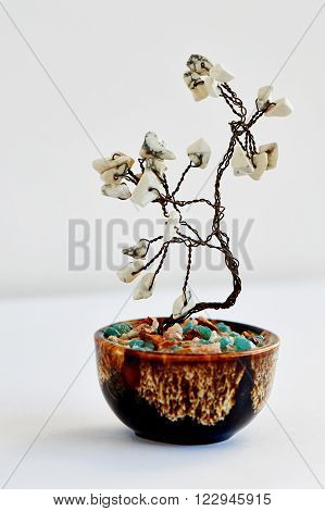 Stone tree. tree of happiness Feng Shui from a wire with white stones