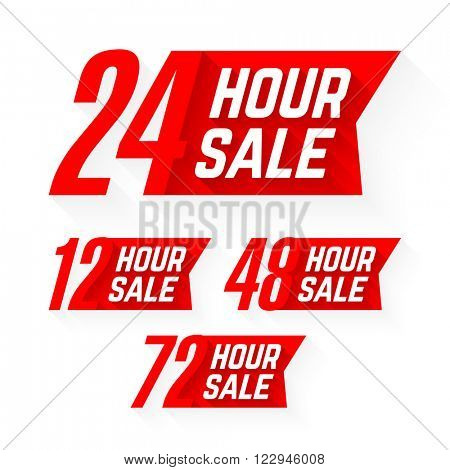 12, 24, 48 and 72 Hour Sale labels. Vector illustration.