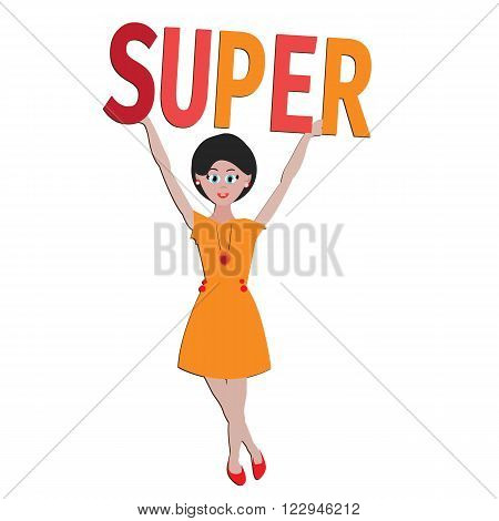 Girl with word Super for good mood. Could be baner, sticker, for t-shirt. postcard