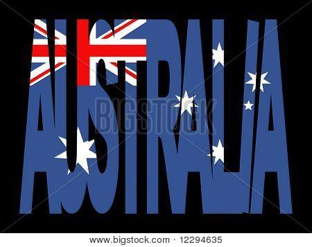 overlapping Australia text with Australian flag illustration