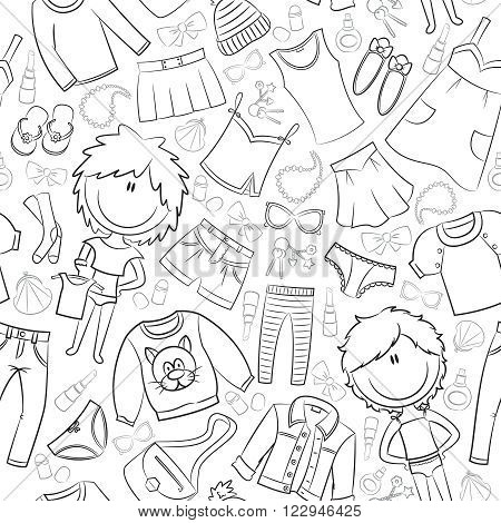 Seamless vector pattern with modern casual girls clothes and accessories