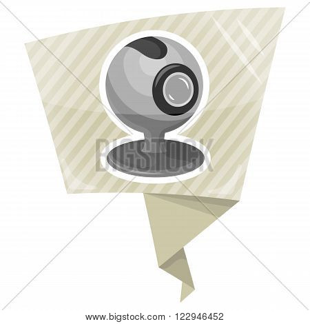 Vector webcam flat icon an a grey background