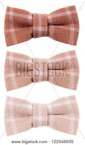Brown beige plaid hair bow tie three shades