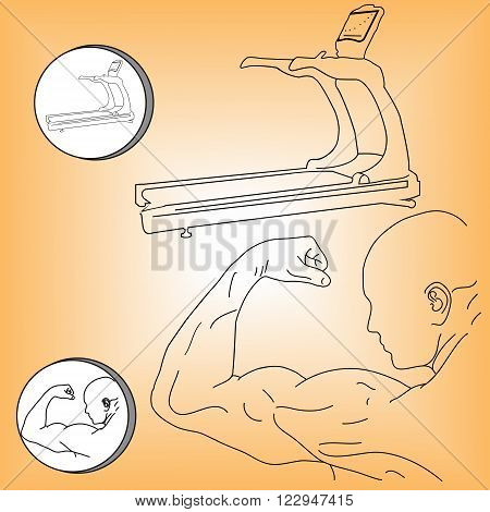 Logo black and white muscular athlete and treadmill vector illustration