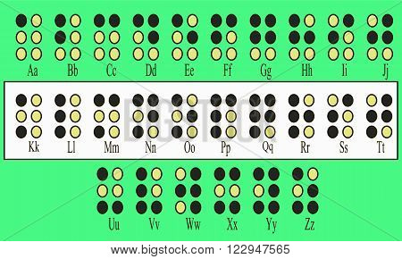 Alphabet for the blind on a green background vector illustration
