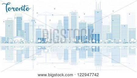 Outline Toronto skyline with blue buildings and reflections. Business travel and tourism concept with place for text. Image for presentation, banner, placard and web site.