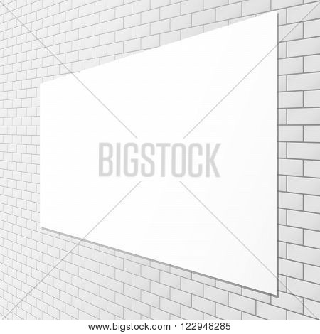 White blank billboard attached to perspective brick wall.