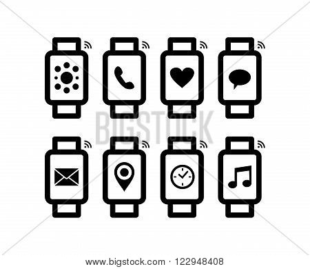 Smart Watch Design Set In Line Art Style With Icon