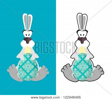 Easter Egg And Easter Bunny. Bunny And Egg. Funny Bunny Holding A Colored Egg. Illustration For East