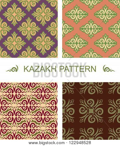 Kazakh Pattern. Traditional National Pattern Of Kazakhstan. Texture Pattern Peoples Of Central Asia.