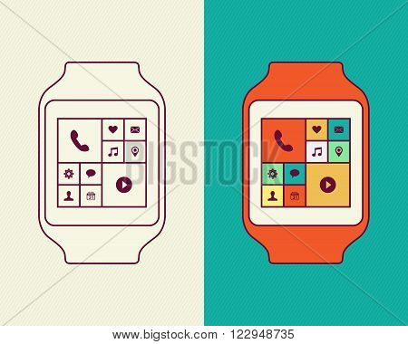 Smart Watch Designs In Line Art And Outline Style