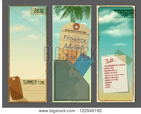 Vintage Summer Time Banners - Set of vintage vertical banners with sky and clouds, luggage tags, vacation tickets, lists, notepad, ephemera, old paper scraps for flyers, adverts and promotion material