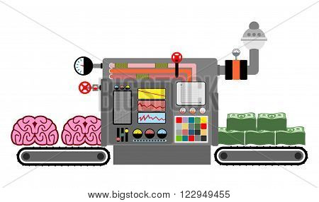 brains and money. Production of money from intelligence. Technological process of production of cash from mind brain. Brain bring dollars. Machine for production of money. Control Panel. Ideas are transformed into money. Factory for ideas