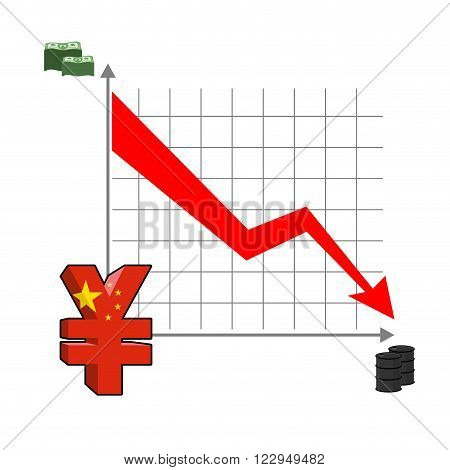 Falling And Rising Yen. Fall In Oil Prices. Red Down Arrow. Green Arrow. Reducing Quotes Chinese Cur