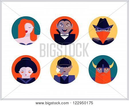 Bookstore and cinema subjects flat icons set