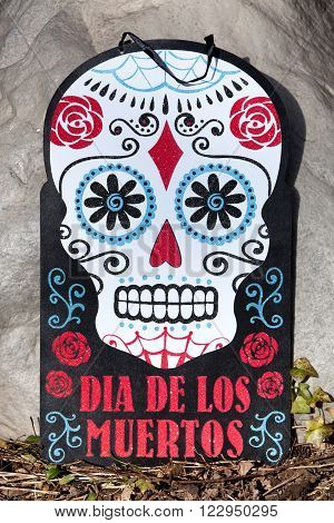 Day of the Dead decorative sugar skull sign