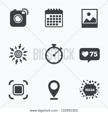 Calendar, like counter and go to web icons. Hipster retro photo camera icon. Autofocus zone symbol. Stopwatch timer sign. Landscape photo frame. Location pointer.