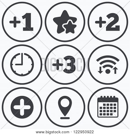 Clock, wifi and stars icons. Plus icons. Positive symbol. Add one, two, three and four more sign. Calendar symbol.