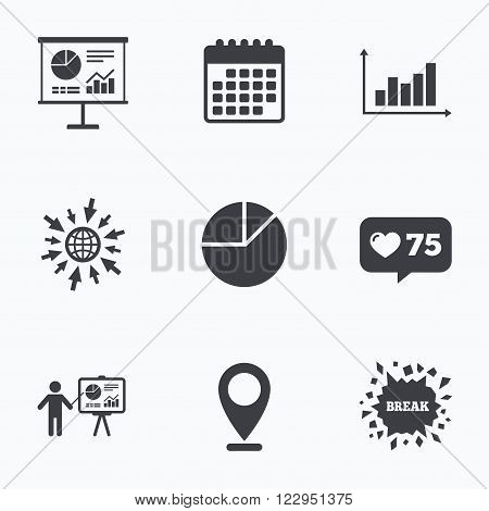 Calendar, like counter and go to web icons. Diagram graph Pie chart icon. Presentation billboard symbol. Supply and demand. Man standing with pointer. Location pointer.