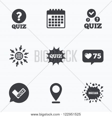 Calendar, like counter and go to web icons. Quiz icons. Speech bubble with check mark symbol. Explosion boom sign. Location pointer.