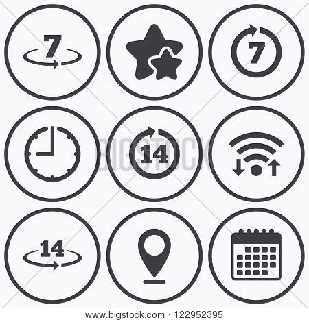 Clock, wifi and stars icons. Return of goods within 7 or 14 days icons. Warranty 2 weeks exchange symbols. Calendar symbol.