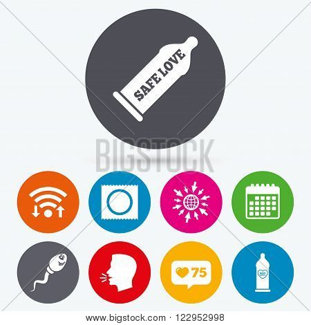 Wifi, like counter and calendar icons. Safe sex love icons. Condom in package symbol. Sperm sign. Fertilization or insemination. Heart symbol. Human talk, go to web.