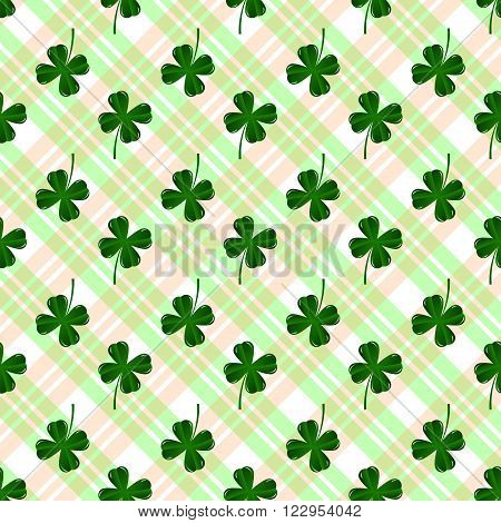 Seamless pattern with four leaves green clovers. St. Patric's Day background