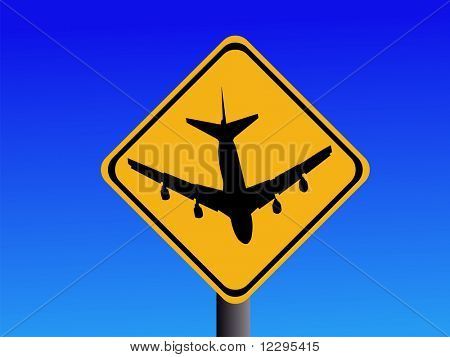 American beware airport sign with plane JPG