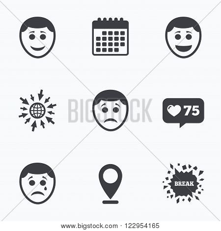 Calendar, like counter and go to web icons. Human smile face icons. Happy, sad, cry signs. Happy smiley chat symbol. Sadness depression and crying signs. Location pointer.