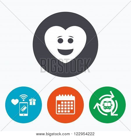 Smile heart face sign icon. Happy smiley with hairstyle chat symbol. Mobile payments, calendar and wifi icons. Bus shuttle.