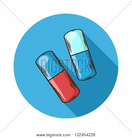 Capsules icon.Vector Capsules icon isolated with shadow.Hand draw Capsules vector.Vector Capsules icon isolated on background with shadow.Gelatin, paper or other lightweight shell for some drugs.Pill