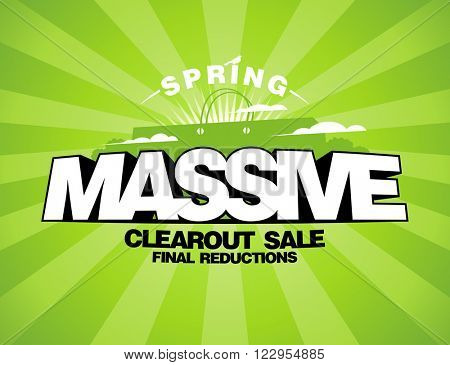 Massive spring sale design template with shopping bag, rasterized version.